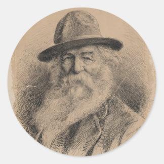 Retrato de Walt Whitman del poeta por la valeriana Etiquetas Redondas