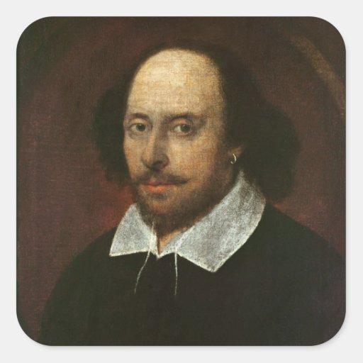 Retrato de William Shakespeare c.1610 Calcomania Cuadrada Personalizada