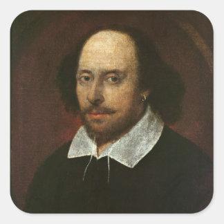 Retrato de William Shakespeare c.1610 Pegatina Cuadrada