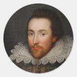 Retrato de William Shakespeare Cobbe circa 1610 Pegatinas Redondas