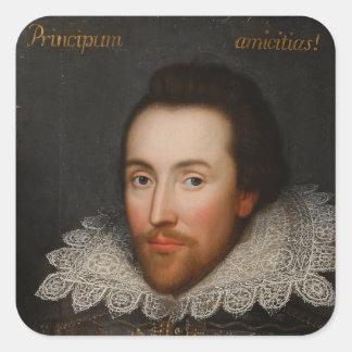 Retrato de William Shakespeare Cobbe circa 1610 Pegatina Cuadrada