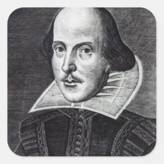 Retrato de William Shakespeare Pegatina Cuadrada