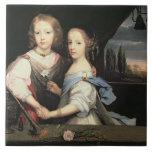 Retrato de Winston y de Arabella (1648-1730) Churc Azulejo Ceramica