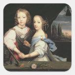Retrato de Winston y de Arabella (1648-1730) Churc Pegatinas Cuadradas Personalizadas