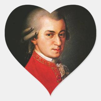 Retrato de Wolfgang Amadeus Mozart Pegatina En Forma De Corazón
