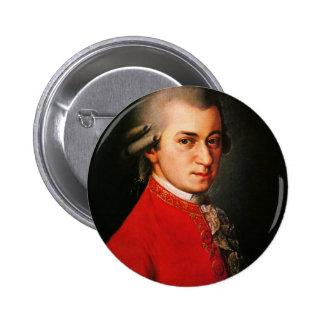 Retrato de Wolfgang Amadeus Mozart Pin Redondo De 2 Pulgadas