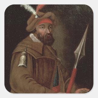 Retrato de Yermak Timofeyevich, 1700-50 Calcomanía Cuadradas Personalizada