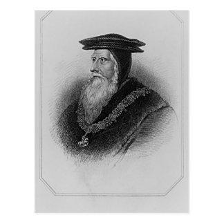 Retrato del 1r conde de Juan Russell de Bedford Postal