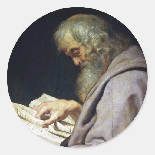 Retrato del aceite de Simon Peter Paul Rubens del Pegatina Redonda