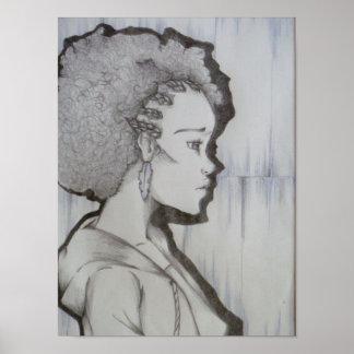 Retrato del Afro Posters