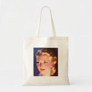 Retrato del anuncio de la mujer retra de las mujer bolsa tela barata