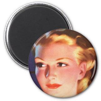 Retrato del anuncio de la mujer retra de las mujer imán redondo 5 cm