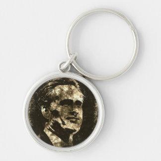 Retrato del arte del Grunge de Mitt Romney Llavero Redondo Plateado