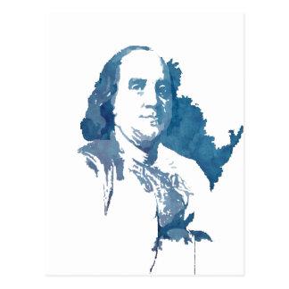 Retrato del arte pop de Ben Franklin en azul Postal