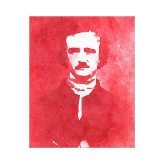 Retrato del arte pop de Edgar Allan Poe en rojo Impresión En Lona