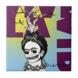 Retrato del arte pop de Frida Kahlo Azulejo Cuadrado Pequeño