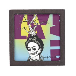 Retrato del arte pop de Frida Kahlo Caja De Recuerdo De Calidad