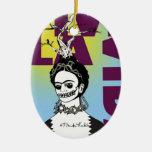 Retrato del arte pop de Frida Kahlo Adornos De Navidad