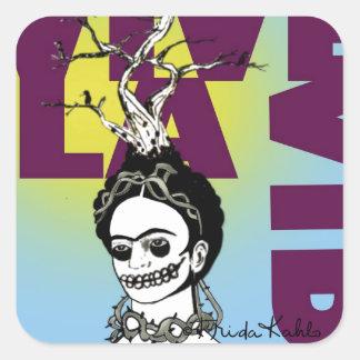 Retrato del arte pop de Frida Kahlo Pegatina Cuadrada