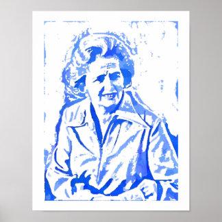 Retrato del arte pop de Margaret Thatcher Póster