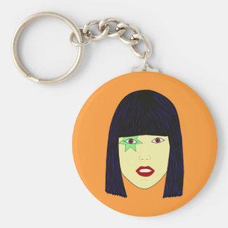 Retrato del arte pop de un chica asiático llavero redondo tipo pin