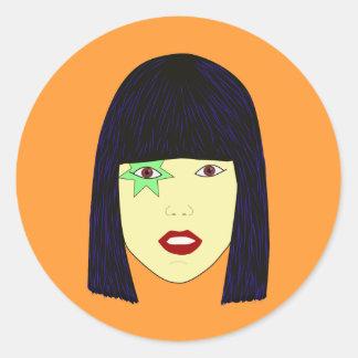 Retrato del arte pop de un chica asiático etiqueta redonda