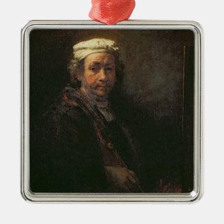 Retrato del artista en su caballete, 1660 adorno cuadrado plateado