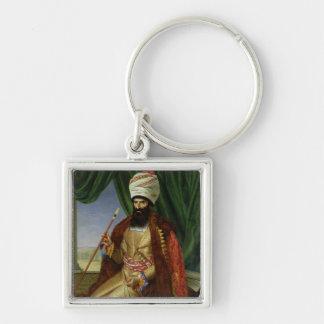 Retrato del asker-Khan, embajador de Persia Llavero Cuadrado Plateado