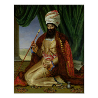 Retrato del asker-Khan, embajador de Persia Póster