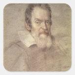 Retrato del astrónomo de Galileo Galilei Calcomanías Cuadradas