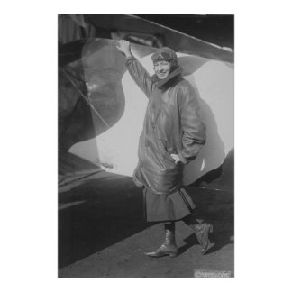 Retrato del aviador de sexo femenino Marjorie Póster