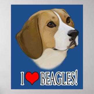 Retrato del beagle: ¡Amo beagles! Póster