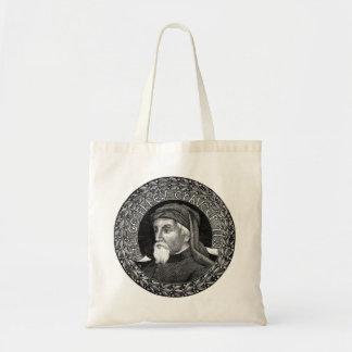 Retrato del bolso de Geoffrey Chaucer Bolsa Tela Barata