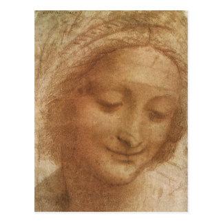 Retrato del bosquejo Santa Ana de Leonardo da Vinc Tarjeta Postal