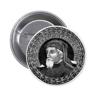 Retrato del botón de Geoffrey Chaucer Pin Redondo De 2 Pulgadas