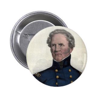 Retrato del botón de Winfield Scott Pin Redondo De 2 Pulgadas