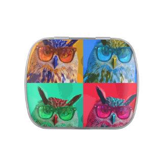 retrato del búho del arte pop latas de caramelos