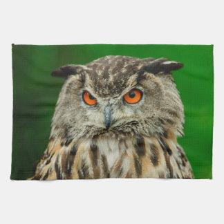 Retrato del búho toallas de mano