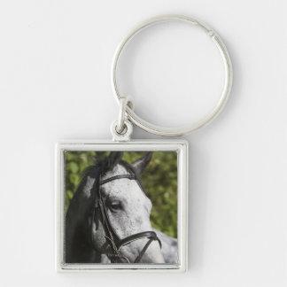 retrato del caballo blanco 2 llaveros personalizados
