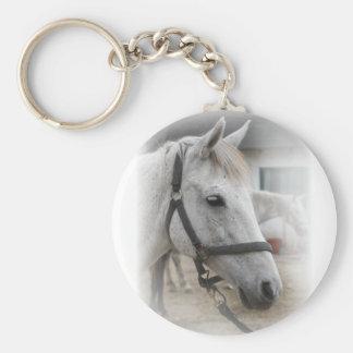 Retrato del caballo blanco llavero redondo tipo pin