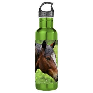 Retrato del caballo de Brown Botella De Agua