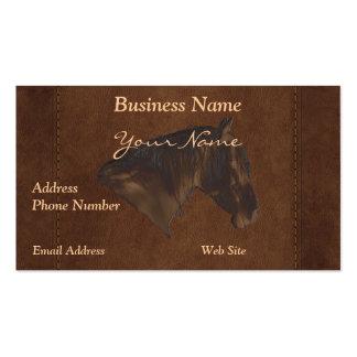 Retrato del caballo de la imitación de cuero en ta tarjetas personales