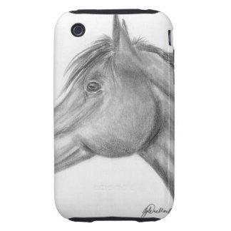 Retrato del caballo tough iPhone 3 carcasa