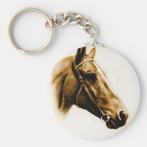 Retrato del caballo llavero redondo tipo pin