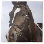 retrato del caballo marrón tejas  ceramicas