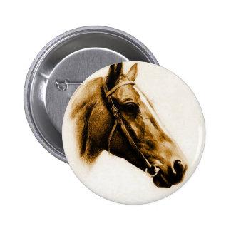Retrato del caballo pin redondo de 2 pulgadas