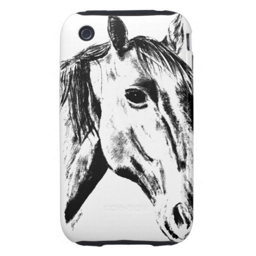 Retrato del caballo tough iPhone 3 coberturas