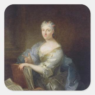 Retrato del cantante Marie-Louise Desmatins Pegatina Cuadrada