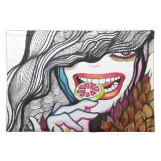 Retrato del chica del Lollipop Mantel Individual