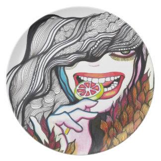 Retrato del chica del Lollipop Platos